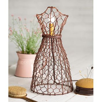 Rustic Chicken Wire Form Figure Electric Lamp