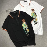 """Dolce & Gabbana"" Unisex Lion Military Officer Embroidery Lapel T-shirt Couple Short Sleeve Casual Polo Shirt Top Tee"