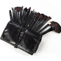 Professional Makeup Brush Set| Pro Cosmetic-32pc Studio Pro Makeup Make Up Cosmetic Brush Set Kit w/ Leather Case - For Eye Shadow, Blush, Concealer, Etc. (Black) gift