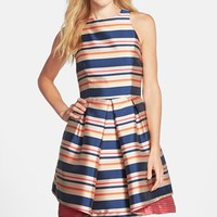 Women's Trina Turk 'Nicci' Stripe Twill Fit & Flare Dress,