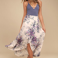 Right by Your Side Blush Pink Floral Print Wrap Midi Skirt