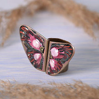 Seal handmade ring machaon copper stylish jewelry designer's women's accessories