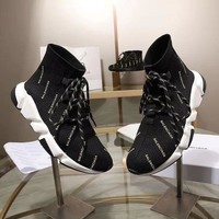 Balenciaga Speed Trainers Black White Lace-up Sneakers