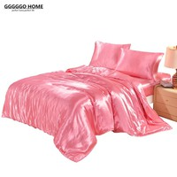 3/4PCS DUVET COVER SET SATIN SILK BEDDING SET