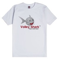 Volley Shark volleyball tee _Play it with Heart-White T-Shirt