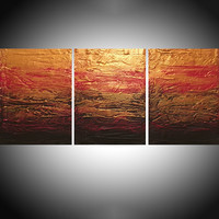 "ARTFINDER: Beauty in the Breakdown red gold impasto triptych abstract original abstract painting art canvas - 48 x 20 inches by Stuart Wright - Title "" Beauty in the Breakdown ""