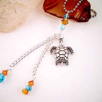 Rear View Mirror Sea Turtle Car Charm - Sea Turtle Charm with Blue and Gold Crystals C74