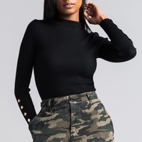 AKIRA Ribbed Mock Neck Long Sleeve Sweater in Black