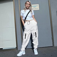 Women Personality Fashion Cargo Pants High Waist Leisure Pants Trousers