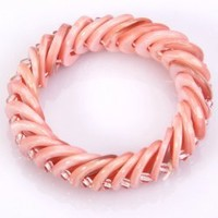 Fashion Simple Elastic Round Hollow Shell Cheap Bracelet for Women - Pink