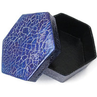 Mens Gift Box hexagonal box in royal blue and purple with metallic silver crackle finish, trinket box, small Fathers Day gift box