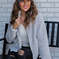 Cozy Celebration Fuzzy Zip Up Jacket : Light Grey