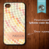 Personalized iPhone Case - Plastic or Silicone Rubber Monogram iPhone 4 4S Case Cover - K007