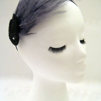 The Pauline - Gray and black feather fascinator, art deco feather headdress, gray feather hair piece, Great Gatsby style