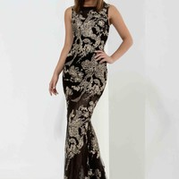 Jasz Couture High Neckline Fitted Dress 5666