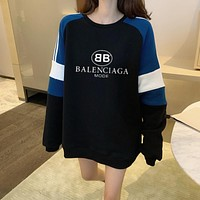 """Balenciaga"" Fashion Casual Multicolor Logo Letter Print Round Neck Long Sleeve Women Sweater Tops"