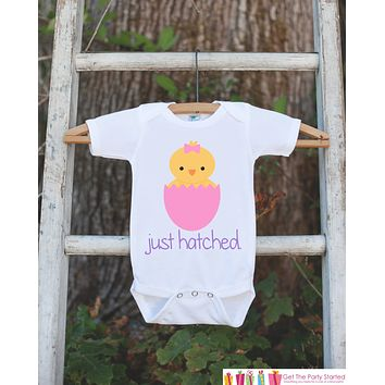 Baby Girl Easter Outfit - Newborn Infant Onepiece - Girls Just Hatched Outfit - Girl Baby Chick Easter Bodysuit - Hospital Take Home Outfit
