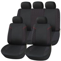 Adeco 9-Piece Car Vehicle Seat Covers Universal Fit Black with red pattern
