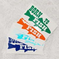 2.5x5 Inch Large Born To Fish Permanent Vinyl Decal/Bumper Sticker