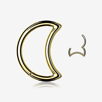 Golden Crescent Moon Seamless Clicker Hoop Ring