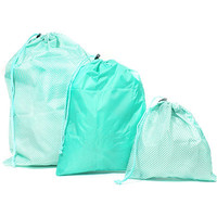 3 Pc Blue Washable Drawstring Bag Set