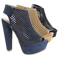 Rotary By Speed Limit 98, Peep Toe Perforated Chunky Heel Platform Pumps