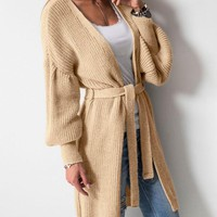 New Apricot Drawstring Long Sleeve Casual Cardigan Sweater