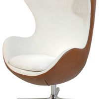 Muna Egg Shape Contemporary Armchair, White-Walnut - Midcentury - Armchairs And Accent Chairs - by La Wiola Decor, Inc.