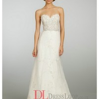 Beaded And Embroidered A-Line Tulle Natural Waist Bridal Gown LZ3305