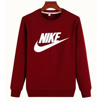 """""""Nike"""" Unisex Lover Simple Casual Letter Print Round Neck Long Sleeve Cotton Tops"""