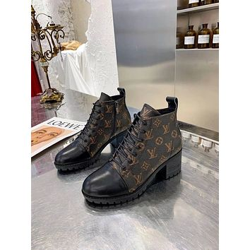 lv louis vuitton trending womens men black leather side zip lace up ankle boots shoes high boots 9
