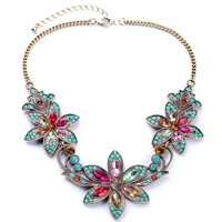 Bohemian Flowers Vintage Choker Chains Rhinestone Necklace