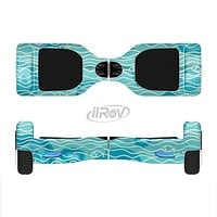 The Blue Abstarct Cells with Fish Water Illustration Full-Body Skin Set for the Smart Drifting SuperCharged iiRov HoverBoard