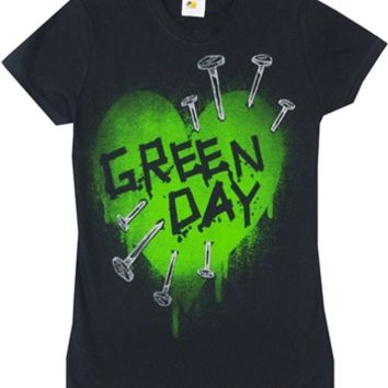 Green Day Nail Heart Junior T-Shirt available online from OldSchoolTees.com | Large selection of vintage tees from Bands, Movies, Brands, TV shows, and more available from Old School Tees