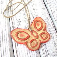 Red hanging butterfly. Home decor. Wedding decor. Christmas decoration. Christmas ornament. Air dry clay. Rustic style.