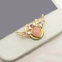 Etsy Cyber Monday Sale 1PC Bling Crystal Cat's Eye Heart Wing Love iPhone Home Button Sticker Charm for iPhone 4s,4g,5,5c Cell Phone Charm