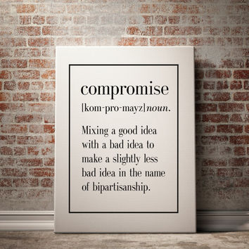 Compromise Definition Print Kitchen Art Living Room Decor Funny Art Home Decor Art Print Funny Wall Art Inspirational Quote INSTANT DOWNLOAD