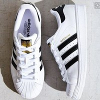 "Fashion Shell-toe ""Adidas"" Flats Sneakers Sport Shoes Black white line golden logo"