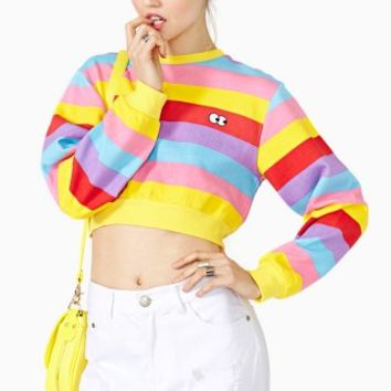 Rainbow Stripe Crop Sweatshirt