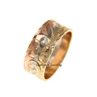 14K YELLOW WHITE ROSE TRICOLOR GOLD HAND ENGRAVED HAWAIIAN PLUMERIA SCROLL 8MM RING
