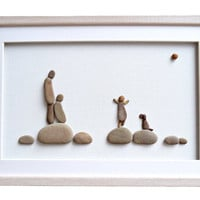 Pebble art family and dog, Family of 3 gift, Anniversary gift for wife / husband, New home housewarming gift, Family wall art, Home decor