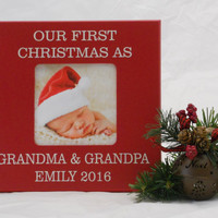 Personalized Baby's First Christmas Frame, Christmas Decor, Holiday Decor Frame, Xmas 2016 Gift, Our First Christmas As Grandma & Grandpa