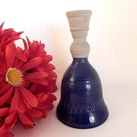 Bell and Candlestick Combo Ceramic Home Decor Vintage 1970's Hallmark Pottery Taper Candle Holder Blue Dinner Bell FREE SHIPPING