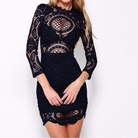 Lydia Lace Sheer High-Neck Dress