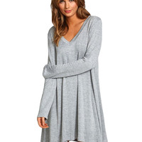 Gray V-Neck Long-Sleeve Dress