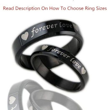 """1PCS Fashion Jewelry Simple Style Mens OR Womens 316L Stainless Steel Polish """"forever love"""" Promise Rings Couples Wedding Bands,Unique Lover's Ring ,Black ,From Milkle Gift (With Thanksgiving&Christmas Gift Box)= 1929589956"""