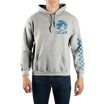 Sonic The Hedgehog Kanji Text Pullover Hooded Sweatshirt
