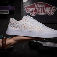 ONETOW Vans X Louis Vuitton Old Skool White Low Tops Flats Shoes Sneakers Sport Shoes