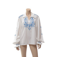 Vintage Hungarian Embroidered Floral Top White + Blue Embroidery Hippie Matyo Boho Festival Peasant Artisan Folk Art Blouse Shirt / XL, Plus