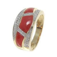 GENUINE NATURAL NOT ENHANCED RED CORAL DIAMOND RING SOLID 14K YELLOW GOLD